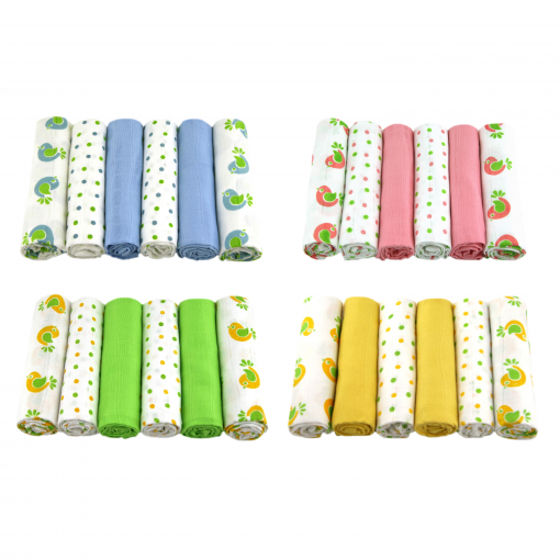 MuslinZ 12pk Baby Muslin Square Burp Cloth 100/% Cotton 70cms Green Birds Combo