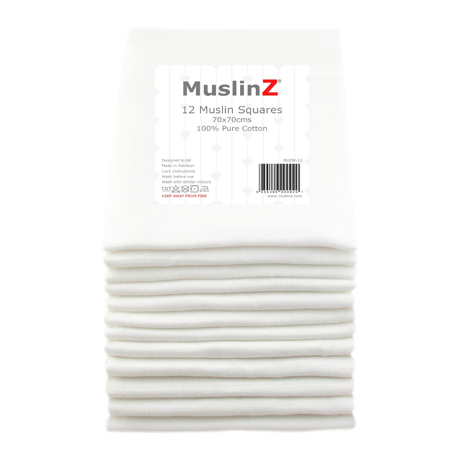 12 Pack Muslin Squares White 70 x 70cm 100/% Cotton Baby